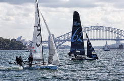 18 foot skiffs on Sydney Harbour Stock Photography