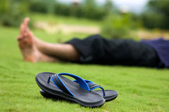 Foot without slippers Royalty Free Stock Photography