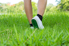 Foot in sneaker with step on foreground grassland Royalty Free Stock Image