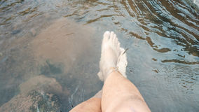 Foot Soak in river relax travel Stock Photo