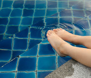 Foot soaked in water. Royalty Free Stock Image