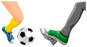Foot with a soccer ball and foot presses on gas Royalty Free Stock Photos
