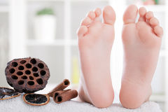Foot spa treatment Stock Photo
