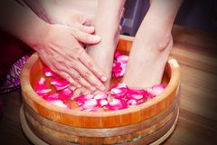 Foot spa. Treatment for massaging feet Royalty Free Stock Photos