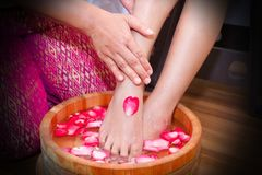 Foot spa. Treatment for massaging feet Royalty Free Stock Image