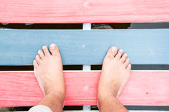 Foot step on the floor Royalty Free Stock Image