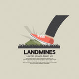 Foot Step On Landmines. Vector Illustration Stock Photos