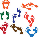 Foot Steps. Illustration of footsteps is isolated on white background, created in illustrator software Stock Photography