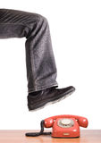 Foot steps on the phone. Royalty Free Stock Images
