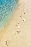 Foot steps and surf on tropical beach Royalty Free Stock Photo
