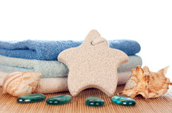 Foot stone and towels Royalty Free Stock Images