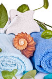Foot stone on towels Stock Image