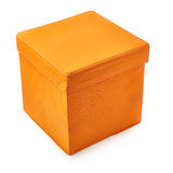 Foot stool ottoman pouffe over isolated white background Royalty Free Stock Photos
