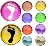 Foot Symbol. The cristal red and yellow color foot symbol Stock Image