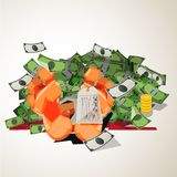 Foot with tag of dead businessman and money. dead for money - ve. Ctor illustration Royalty Free Stock Photos
