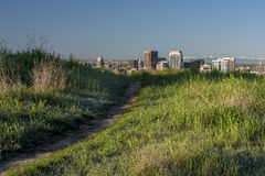 Foot trail and Boise Idaho skyline. Popular trail in the Boise Foothills and city skyline Stock Image
