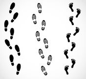 Foot trail set  illustration Royalty Free Stock Image