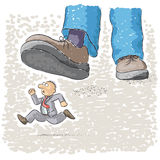 Foot tramples man. An illustration with foot stomping a man Stock Photography