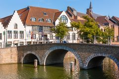 Bridge across Langerei Canal, Bruges, Brugge, Belgium Royalty Free Stock Image