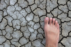 Foot walking droughts ground Stock Photos