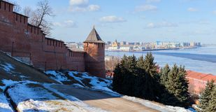 At the foot of the wall of Nizhny Novgorod Kremlin Royalty Free Stock Photos
