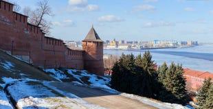 At the foot of the wall of Nizhny Novgorod Kremlin royalty free stock photos