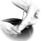 Foot Washing Vignette Stock Photos