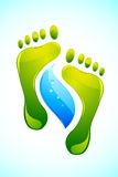 Foot with Water Drop. Illustration of foot print with drop of water on abstract background royalty free illustration