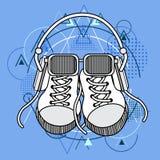 Foot Wear Sneakers Shoes Glasses Headphones Stock Images