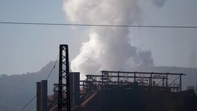 Footage of an atmospheric pollution from a factory