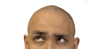 Bald man and half face on white background stock video
