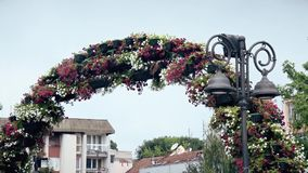 Beautiful Flower Decoration in the City Center. This is footage of Beautiful Flower Decoration in the City Center stock video