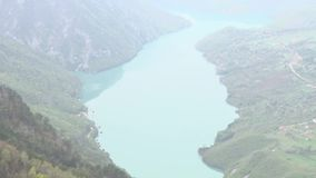 Beautiful landscape of the river and the hills. This is footage of beautiful landscape of the river and the hills in southeastern Europe stock footage