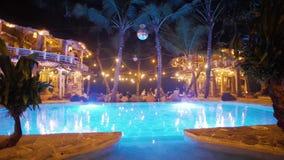Tropical Swimming Pool Panorama Slowmotion 4k stock footage