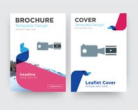 Footage brochure flyer design template. With abstract photo background, minimalist trend business corporate roll up or annual report Royalty Free Stock Photography