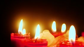 Footage of candle burning with flower petals. Valentine day stock video