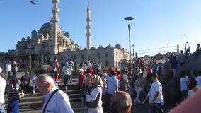 Crowd in Istanbul. Footage of the daily crowd in Istanbul in front of a mosque stock video