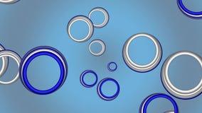 footage Färgrika cirklar på en blå bakgrund stock illustrationer
