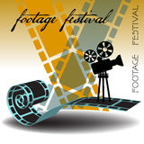 Footage festival. Abstract colorful background with film strips, movie projector and the text footage festival written with handwritten letters Stock Image