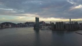 4K Footage of Hong Kong and Kowloon City from sky stock footage