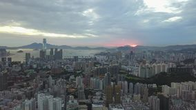 4K Footage of Hong Kong and Kowloon City from sky stock video