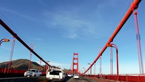 Footage from inside of the car of riding on the Golden Gate bridge stock footage