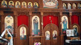 Interior of the Christian Orthodox Church,Prayer part. This is footage of Interior of the Christian Orthodox Church,Prayer part, this shot is created in south stock footage