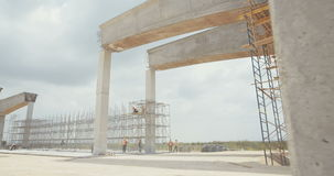 Footage of a large scale highway construction project stock footage