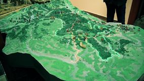 Model map of the hill in Europe. This is footage of Model map of the hill in Europe on baina basta in Serbia stock video footage