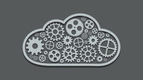 Footage modern mechanism computing cloud concept. Technology gears background. 4K video