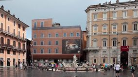 Footage Of Navona Square Cloudy Weather Royalty Free Stock Photography