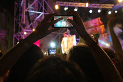 Footage shot with a smartphone during a concert Stock Photography