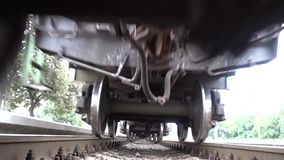 Train Is Moving Bottom View Under The Train Video. Footage shows a Bottom View of a Going Train and rails. You can use this clip for creation of your trip or stock footage