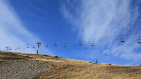 Ski lift in winter without snow stock footage